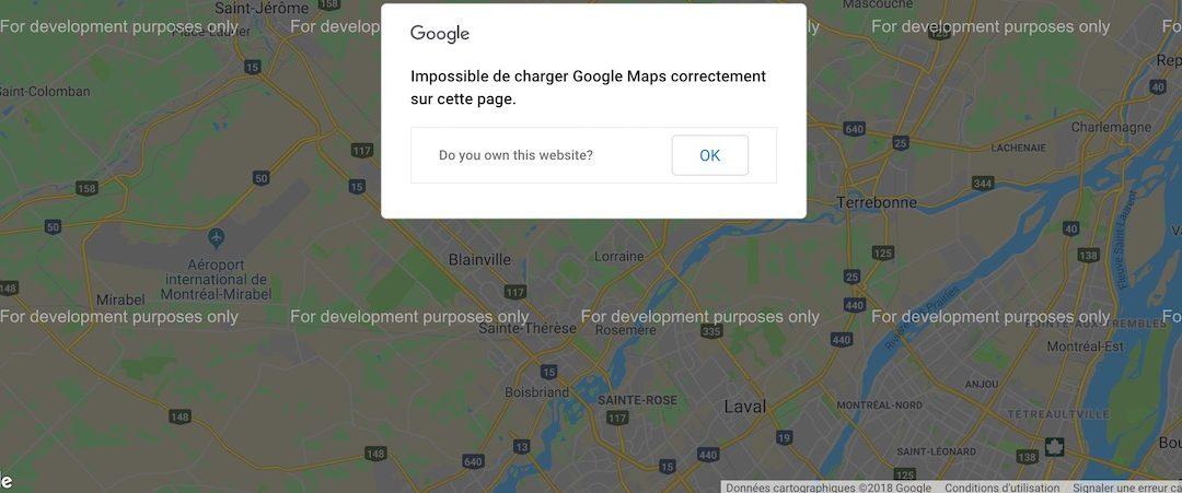 Carte Google et vérification de site web